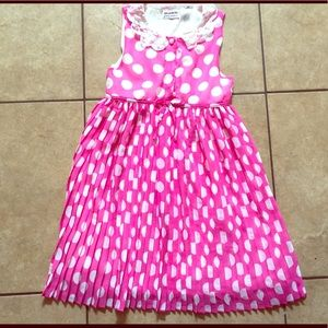 Pink Poka Dot pleated dress